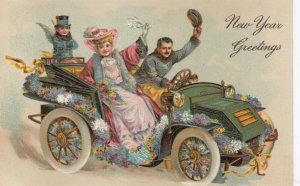 NEW YEAR, 1908; Greetings, Couple in car adorned with flowers, cherub,  PFB 7936