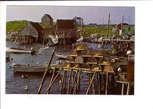 Nova Scotia Fishing Scene, Lobster Traps, Seagulls