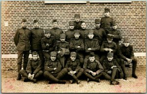 1910s GERMAN RPPC Military Postcard Group of Young Soldiers GEORGE JANSEN Photo