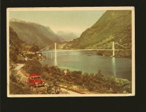 Postmark 1956 Bergen Norway Fykscsund Bridge Norman Photo Postcard