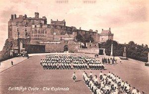 Scotland, UK Old Vintage Antique Post Card Edinburgh Castle Esplanade Unused