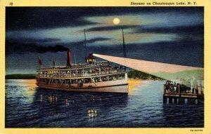 NY - Chautauqua Lake. Steamer at Night
