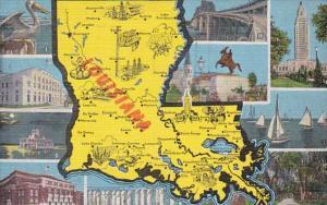 Map Of Louisiana 1950