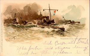 1898 Torpedo Division Unter Volldampf, Art Postkarte Mailed at Dresden