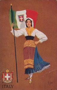 Italy Beautiful Girl With Flag Wearing Traditional Costume