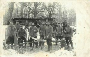 Bow Saw Military C-1915 WW1 German Soldiers RPPC Photo Postcard 1827