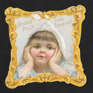 VICTORIAN TRADE CARD Hood's Liver Pills Girl Die Cut