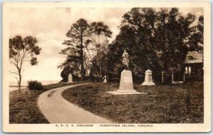 Jamestown Island, Virginia Postcard A.P.V.A. GROUNDS Albertype w/ 1939 Cancel