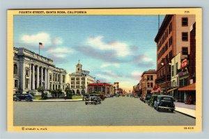 Santa Rosa CA, Looking Down Fourth Street, Linen California Postcard