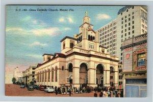 Miami FL-Florida, Gesu Catholic Church and School Downtown Miami, Linen Postcard