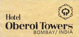 INDIA BOMBAY HOTEL OBEROI TOWERS VINTAGE LUGGAGE LABEL