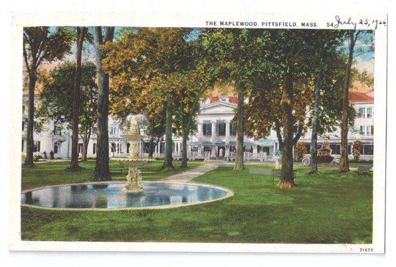 Pittsfield MA Postcard The Maplewood Hotel 1926 Vintage