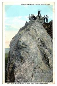 Viewing Four States from Harney Peak Summit, Black Hills, SD Postcard *5F(2)15
