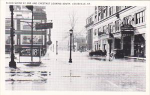 Kentucky Louisville 1937 Flood Scene At 3rd and Chestnut Looking South