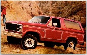 Vintage FORD BRONCO Car Advertising Postcard c1980 Red Truck V8 - Unused