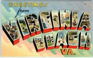 Large Letter Linen  VIRGINIA BEACH, VA  Tichnor ca 1940s Linen Postcard