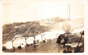 A62/ Ship Postcard Real Photo RPPC c1930 USS St Louis Cruiser Heavy Sea Waves 1