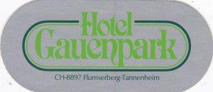 Switzerland Flumserberg Hotel Gauenpark Vintage Luggage Label sk4168