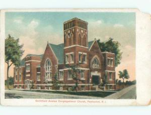 Chipped - Pre-1907 CHURCH SCENE Pawtucket Rhode Island RI p5483