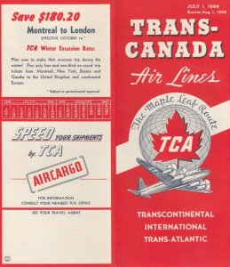 TRANS-CANADA Air Lines , 1949 ; Route Maps & Fare Tables