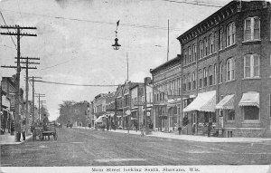 H57/ Shawano Wisconsin Postcard c1920s Main St Stores Wagons 114