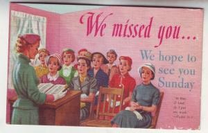 P79 JLs postcard we missed you hope to see you sunday