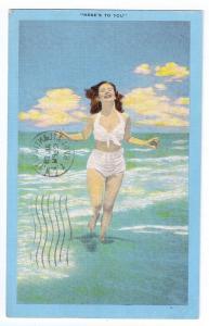 Bathing Beauty Pinup Swimsuit Atlantic City NJ Kropp Linen