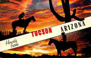 Arizona Tucson Howdy With Cowboy and Sguaro Cactus At Sunset 1962