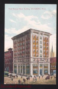VICKSBURG MISSISSIPPI FIRST NATIONAL BANK BUILDING ANTIQUE VINTAGE POSTCARD