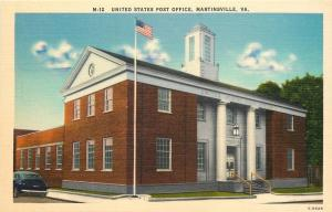 Martinsville Virginia~United States Post Office~1940s Linen Postcard