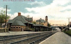 Boston and Maine R.R. Station, Malden, Massachusetts, MA, USA,  Railroad Trai...