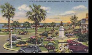 Florida ST.Augustine Ponce De Leon Mounment And Circle