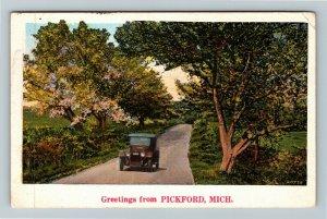 Pickford MI-Michigan, Greetings Scenic Roadway Period Car Vintage c1929 Postcard