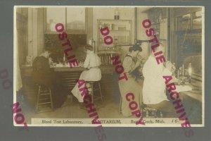 Battle Creek MICHIGAN RPPC c1910 INTERIOR LABORATORY Woman Doctor MICROSCOPE