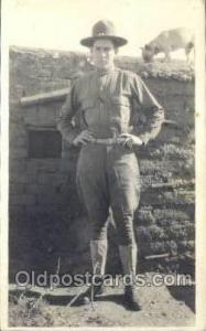 WWI Real Photo Military Soldier in Uniform Post Card Postcard