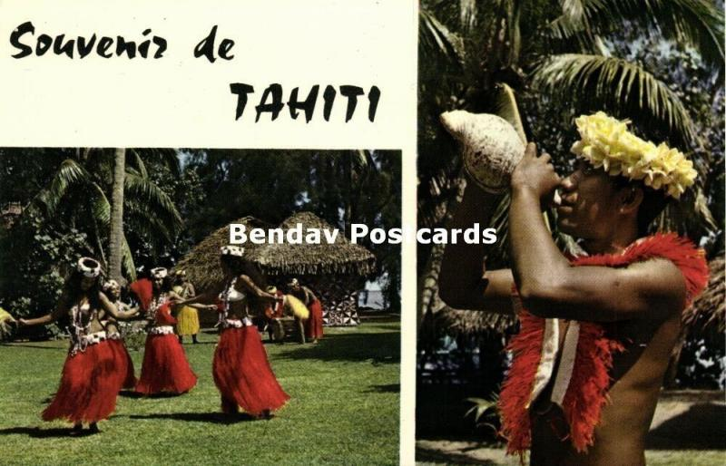 french polynesia, Dancing Girls, Man blowing Shell Instrument (1960s)