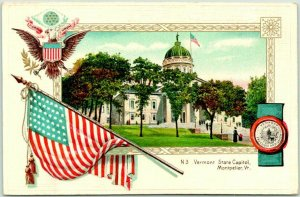 1910s Montpelier, Vermont Embossed Postcard STATE CAPITOL Building View UNUSED