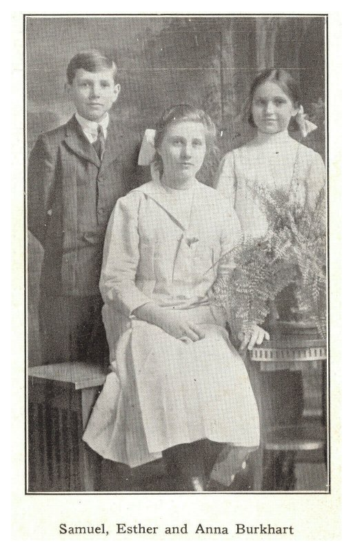 REAL PEOPLE  Burkhart Family Portrait Children Samuel Esther Anna Postcard
