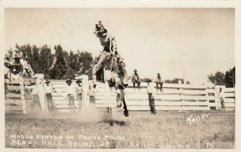 RP: FEMALE RODEO ; BELLE FORCHE , S.D. , 1936 , Madge Runyon