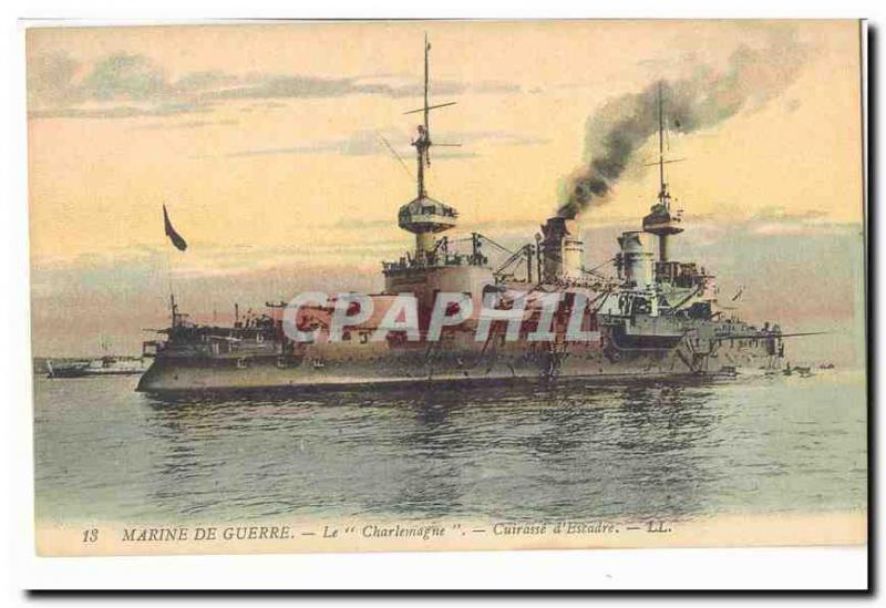 Navy Vintage Postcard Charlemagne Armours squadron (boat ship boat)