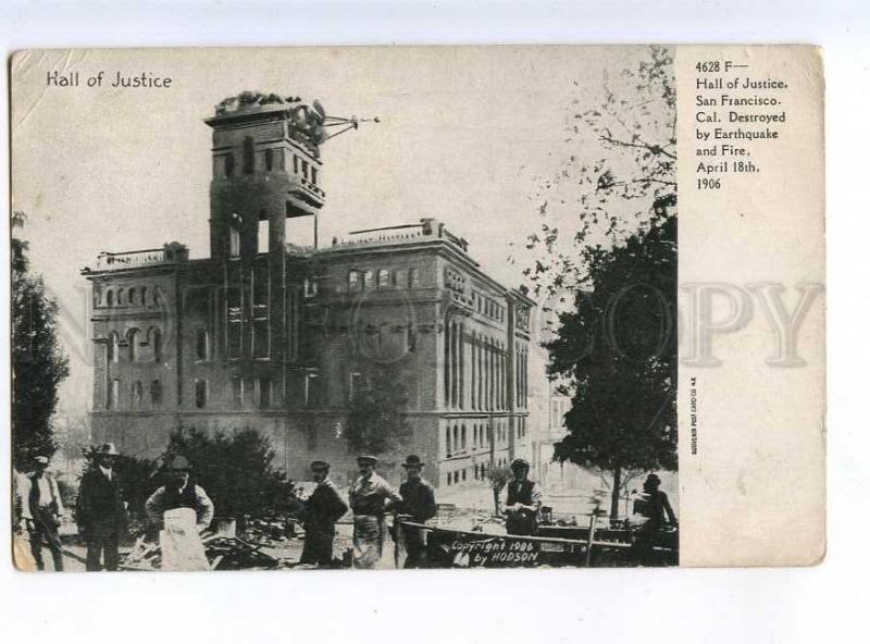 214126 USA EARTHQUAKE San-Francisco 1906 year Hall of Justice