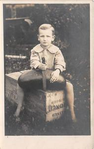 Little boy on a crate S Thurmond Gaffney Child, People Photo Writing on back