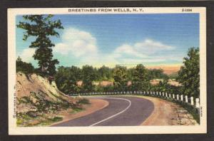NY Greetings from WELLS NEW YORK PC Linen Postcard