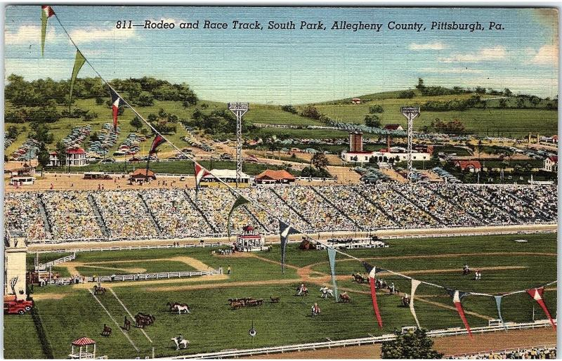 Postcard PA Pittsburgh Rodeo And Race Track South Park Allegheny County J14