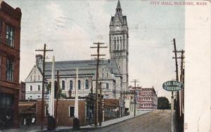 Massachusetts Holyoke Street Sceene Showing City Hall 1910