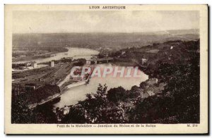 Old Postcard Lyon Artistic Mulatiere the junction of Bridge Rhone and Saone