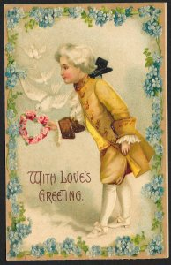 With Love's Greetings Old English Dressed Man & Flower Heart Used c1910s