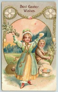 Colonial Easter~Girl w/ Colored Eggs~Boy's Hat Full~Gold Leaf Emboss~United Art