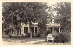 Abilene Kansas~Eisenhower Home~Hours & Free Admission Sign in Front~1940s RPPC