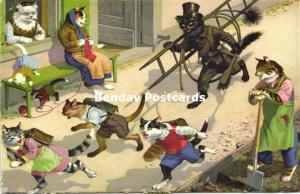 Dressed Cats, Children scared of Chimney Sweeper (1953) Max Künzli 4700